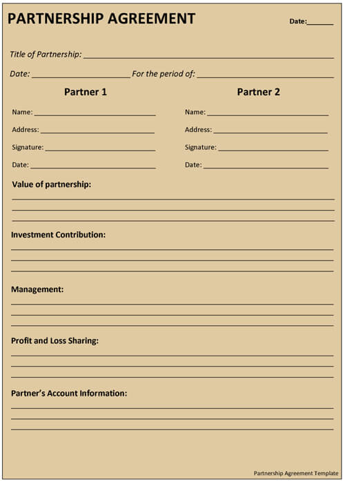 Partnership Contract Template Partnership Agreement Form Sample
