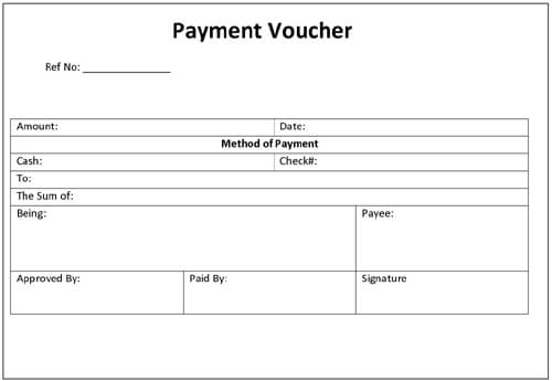 Sample Payment Voucher Template  Cash Voucher Template