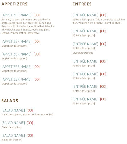 Free Restaurant Menu Template Word