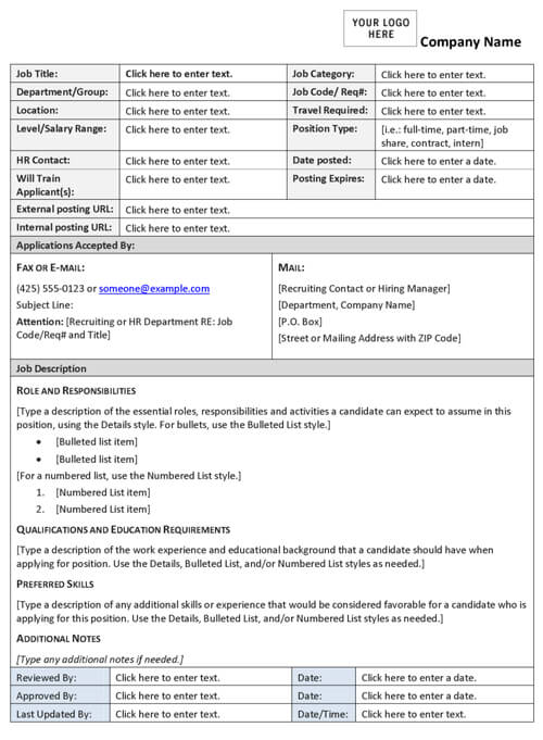 Job Description Template Word – Job Description Form Sample