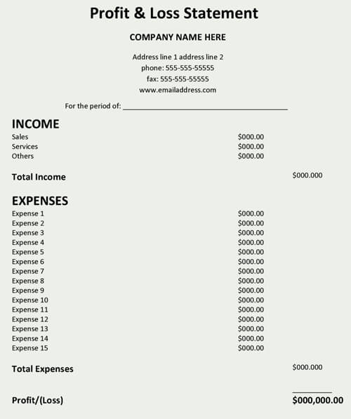 Download Profit And Loss Statement Template