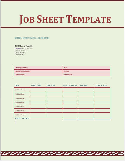 Rate Sheet Template Word