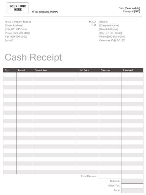 Sample MS Office Templates – Payroll Receipt Template